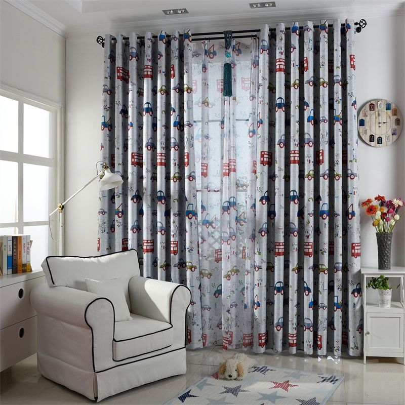 Noise Reducing Polyester Funny Toy Car Pattern Shading Kids Curtain