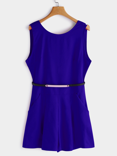 Yoins Blue Backless Zip-back Sleeveless Playsuit With Belt