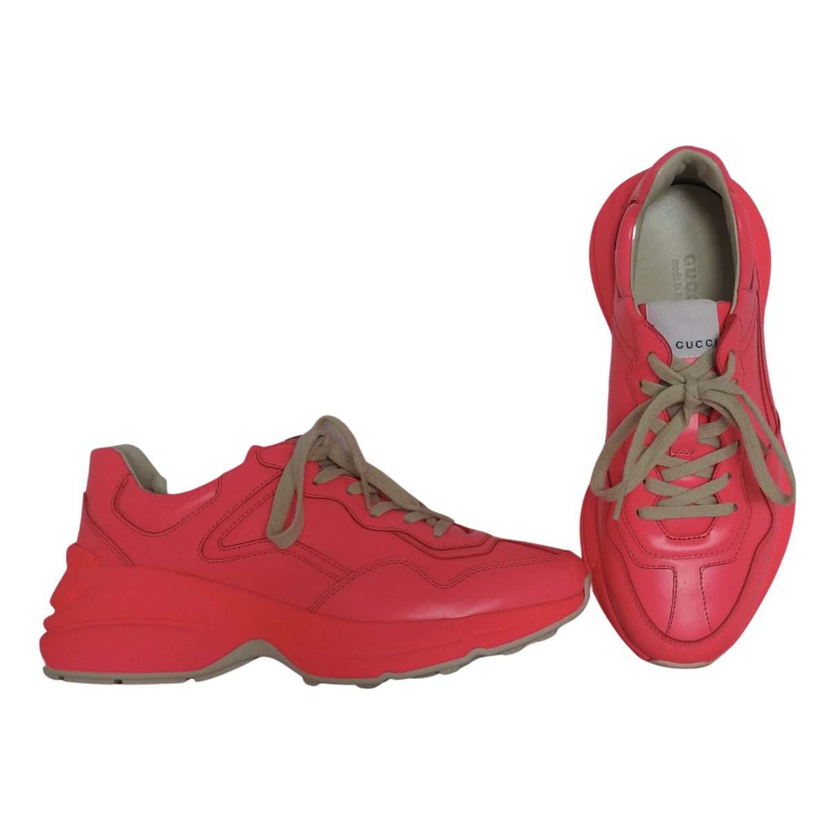 Gucci Rhyton Pink Leather Trainers for Women 37 IT