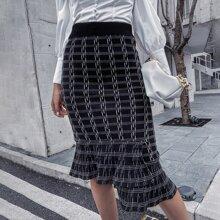Faldas de Punto Asimetrico A cuadros Elegante