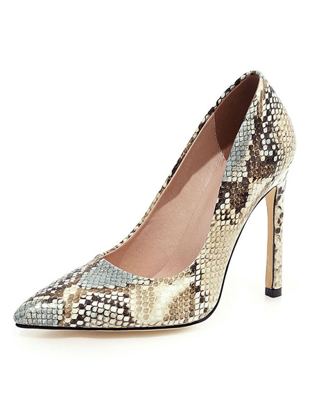 Milanoo High Heels Pointed Toe Pumps Snake Print Stiletto Heel Plus Size Shoes