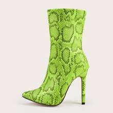 Point Toe Snakeskin Graphic Stiletto Heeled Ankle Boots