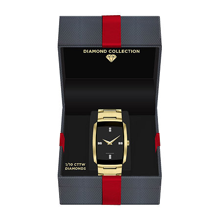 Red Bow Deal 1/10 Ct. T.W. Diamond Mens Chronograph Diamond Accent Gold Tone Bracelet Watch-3653g-18-G27, One Size , No Color Family