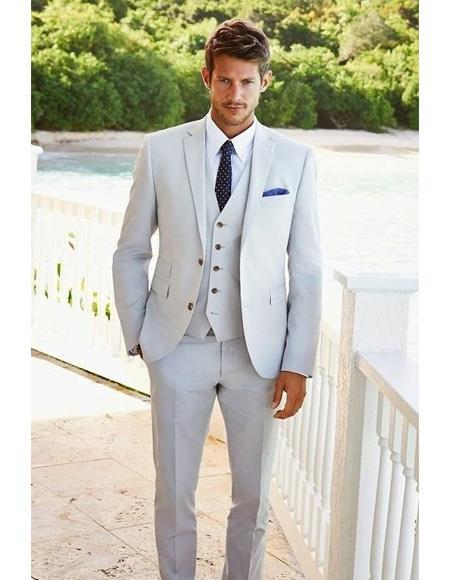 Mens Beach Wedding Attire Suit Menswear Light Gray 199