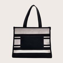 Two Tone Large Capacity Tote Bag