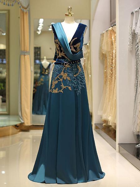 Milanoo Vestidos de noche de lujo Saten Terciopelo Con cuentas Sash Ink Azul Cuello en V Una linea Vestido formal