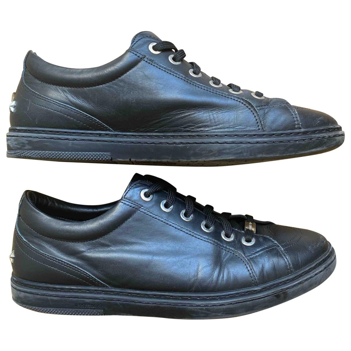 Jimmy Choo Cash Black Leather Trainers for Men 43 EU