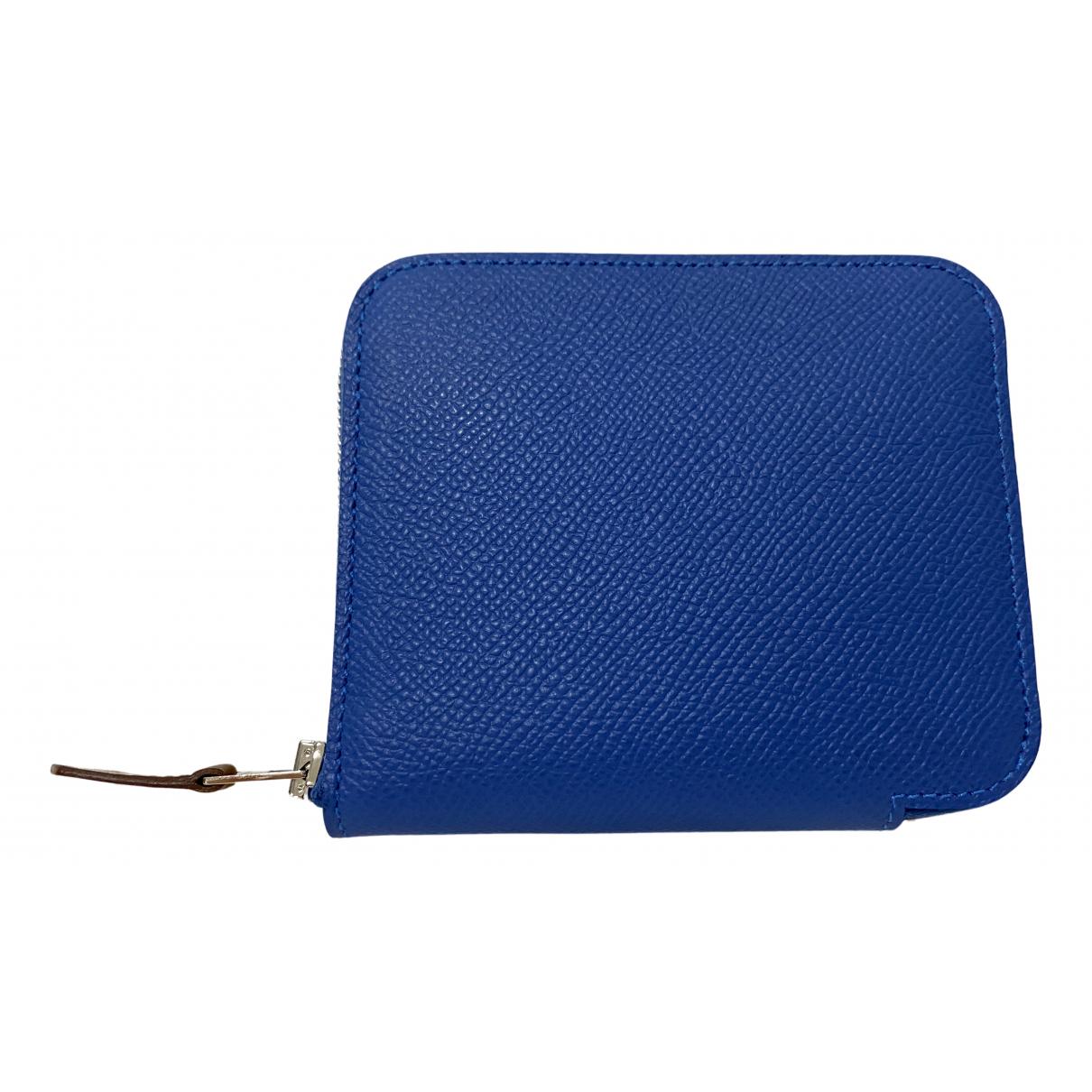 Hermes Silkin Portemonnaie in  Blau Leder