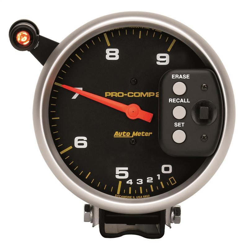 AutoMeter GAUGE; TACH; 5in.; 9K RPM; PEDESTAL DUAL RANGE W/QUICK LITE/PEAK MEM; PRO-COMP