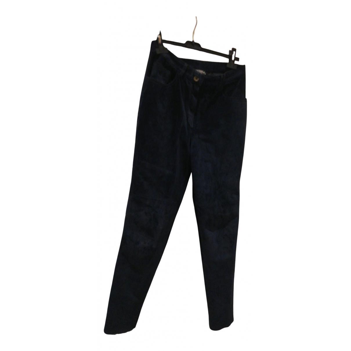 Trussardi N Blue Leather Trousers for Women 42 IT