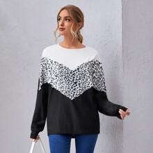 Leopard Print Colorblock Drop Shoulder Sweatshirt