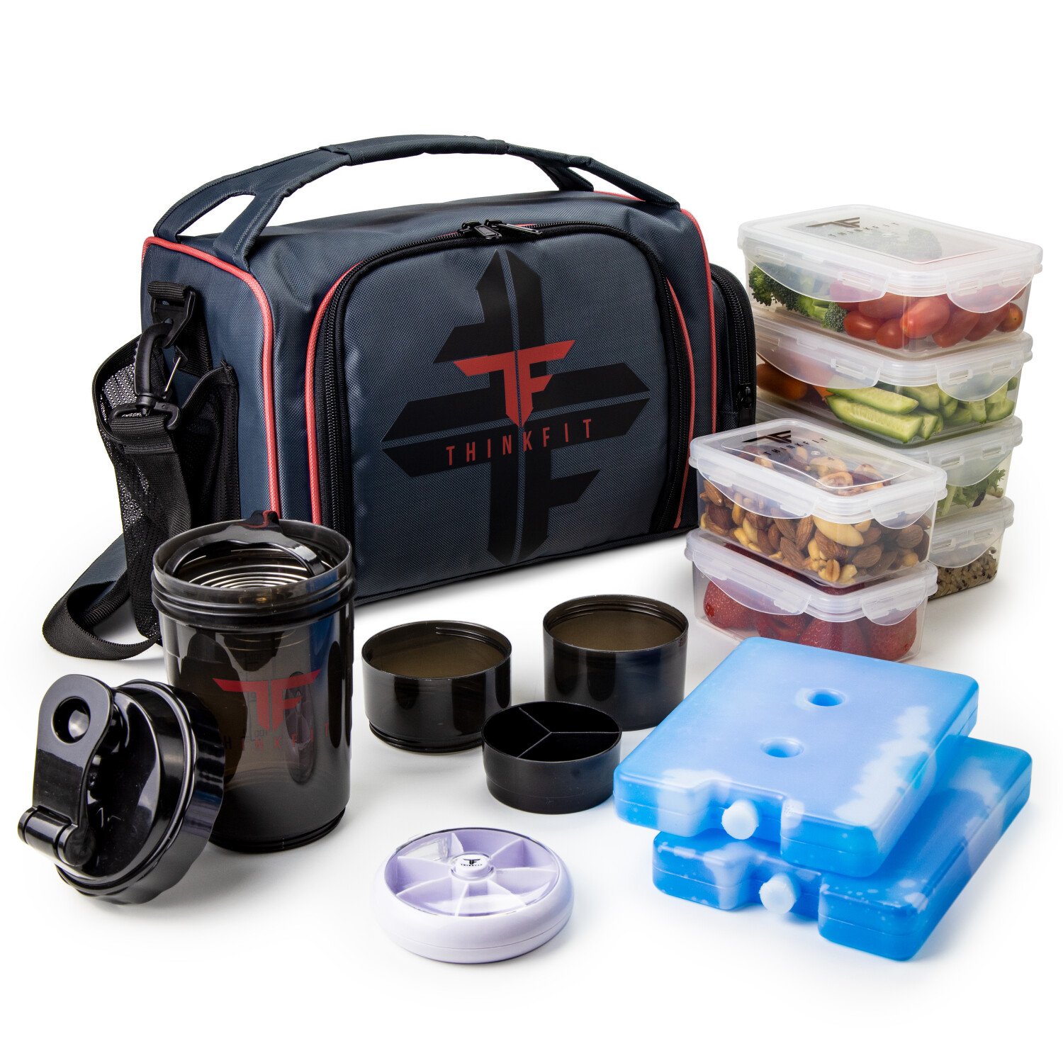 ThinkFit Insulated Meal Prep Lunch Box - 6 Portion Control Containers - BPA-Free, Microwave, Dishwasher, and Freezer Safe - Red