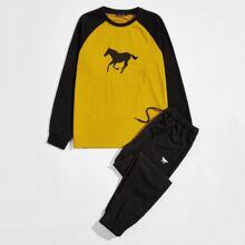 Baseball Top mit Pferd Muster, Farbblock & Hose mit Taillenband