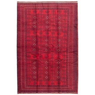 ECARPETGALLERY  Hand-knotted Rizbaft Dark Red Wool Rug - 6'0 x 9'0 (Dark Red - 6'0 x 9'0)