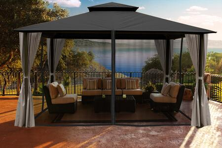 Kingsbury GZ584NGK2 11' x 14' Gazebo with Grey Color Roof and Privacy Curtains and Mosquito
