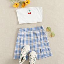 Cherry Rib-knit Tube Top & Split Hem Plaid Skirt Set