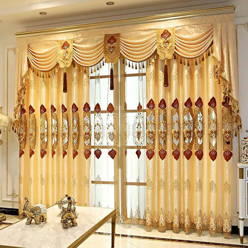 Luxury Floral Embroidery Hollowed-out Blackout Curtains for Living Room Custom 2 Panels Gold Drapes No Pilling No Fading No off-lining