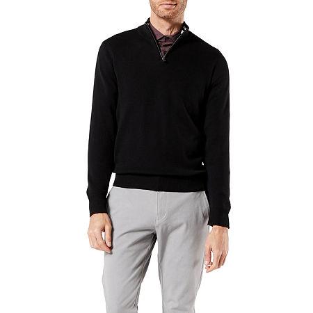 Dockers 1/4 Zip Sweater Split Crew Neck Long Sleeve Knit Pullover Sweater, X-large , Black