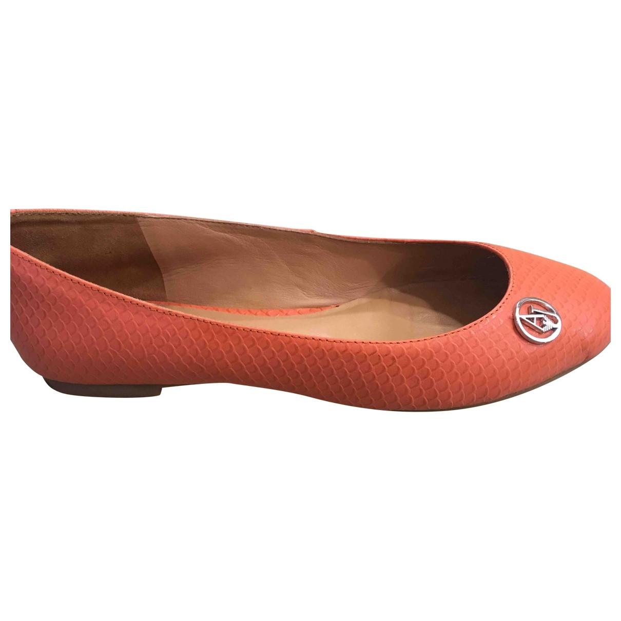 Armani Jeans \N Ballerinas in  Orange Leder