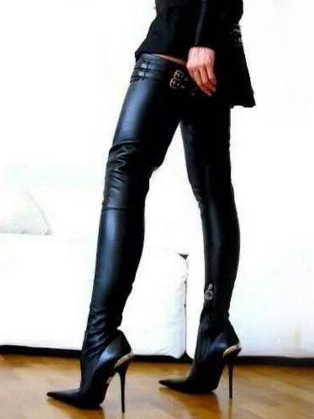 Milanoo Negro Botas Altas Hasta el Muslo 2020 Zapatos Sexy de Mujer Punta Puntiaguda con Tacon de Aguja Botas Altas Sobre la Rodilla