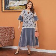 Kleid mit Blumen Muster, Schosschenaermeln und Netzeinsatz