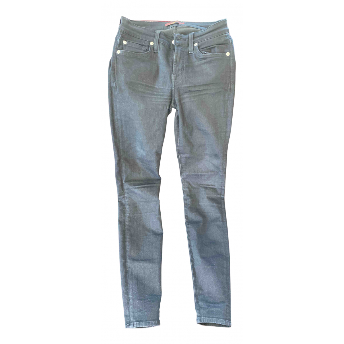 7 For All Mankind \N Black Cotton - elasthane Jeans for Women 25 US