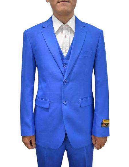 Alberto Nardoni Mens Vested 3 Piece Suit Royal
