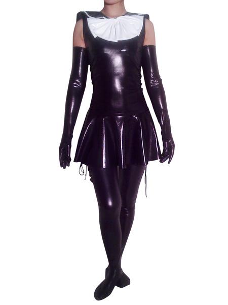 Milanoo Disfraz Halloween Criada Metalico Brillante Catsuit Guantes y Calcetines Halloween