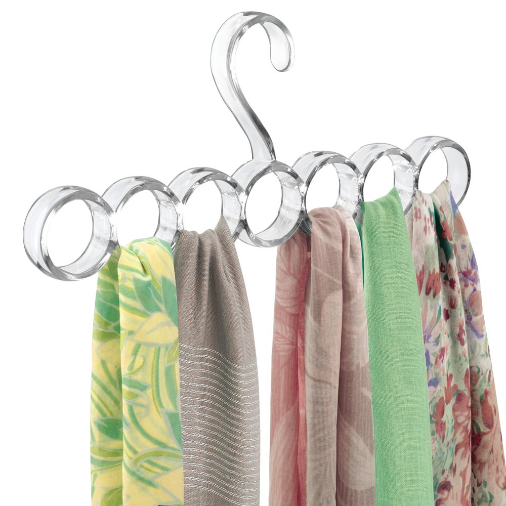 7 Section Hanging Accessory and Scarf Holder, Closet Organizer -  in Clear, .75 x 12.75