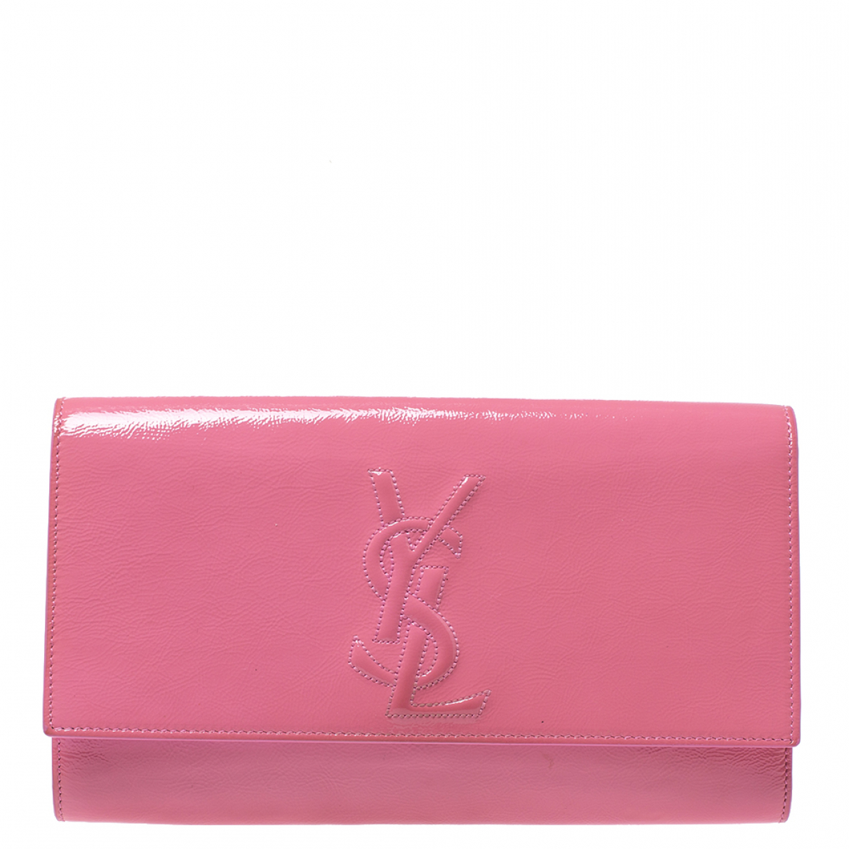 Saint Laurent - Pochette   pour femme en cuir verni - rose
