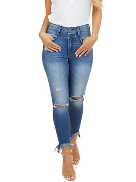 Milanoo Woman\'s Jeans Blue Cotton Embroidered Skinny Sexy Long Ripped Jeans