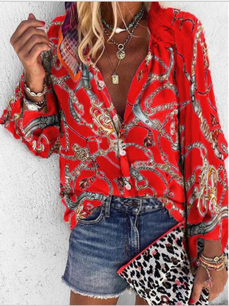 Yoins Red Button Front Scarf Print Crew Neck Long Sleeves Shirt