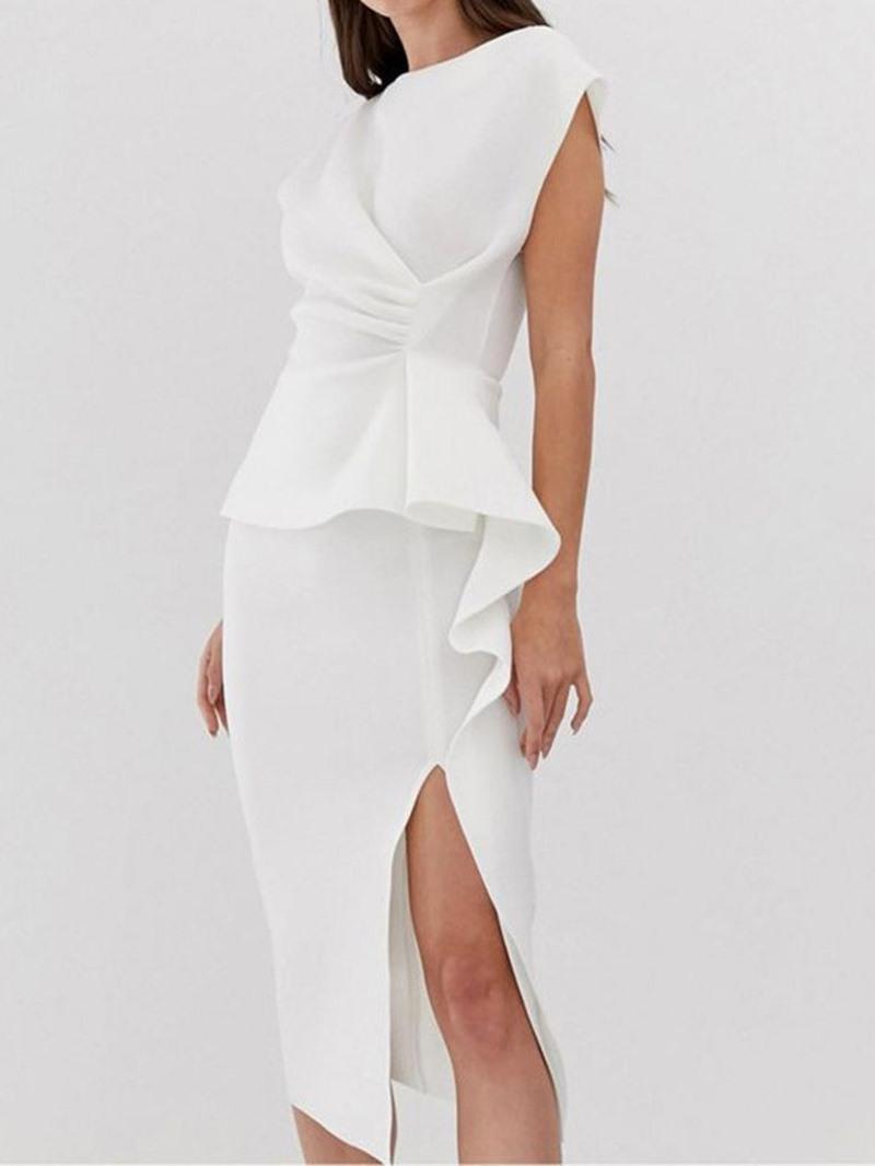 Ericdress Ruffled OL Mid-Calf Round Neck Short Sleeve White Bodycon Dress
