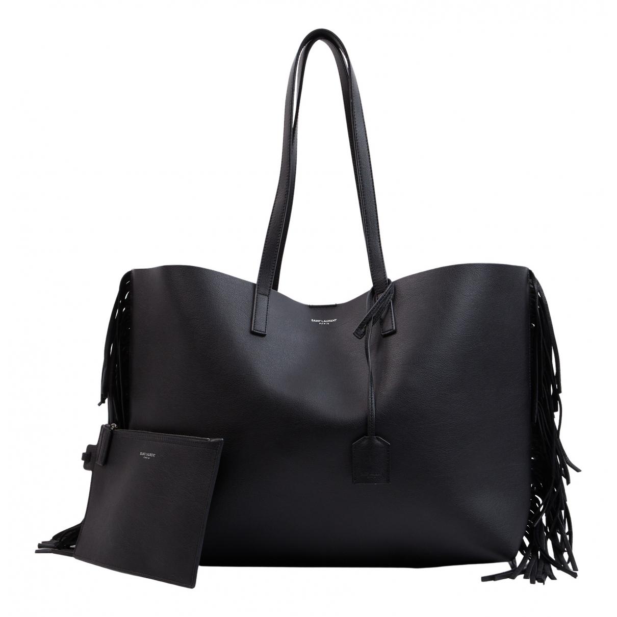 Saint Laurent - Sac a main Shopping pour femme en cuir - noir