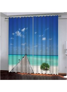 3D Maldives Sea Relaxation Holiday Coast Paradise Vacation Print Scenery Blackout Curtain 200g/m² Shading Polyester Heat Insulation Blackout and Uvior