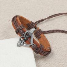 Men Metal Decor PU Bracelet