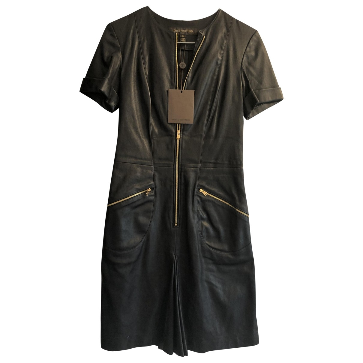 Vestido midi de Cuero Louis Vuitton