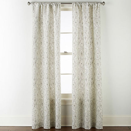 Home Expressions Tribal Diamond Light-Filtering Rod-Pocket Curtain Panel, One Size , Gray