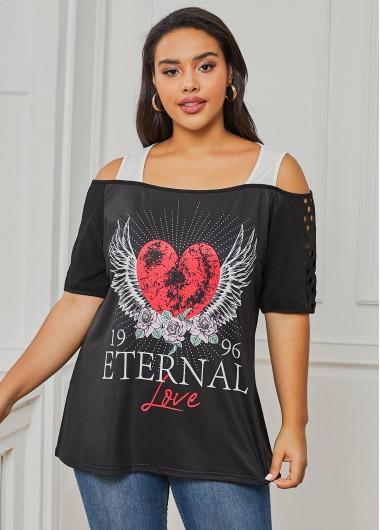 Cold Shoulder Heart Print Plus Size T Shirt - 1X