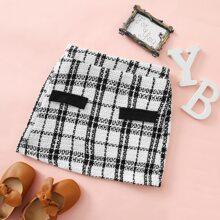Toddler Girls Tweed Plaid Skirt