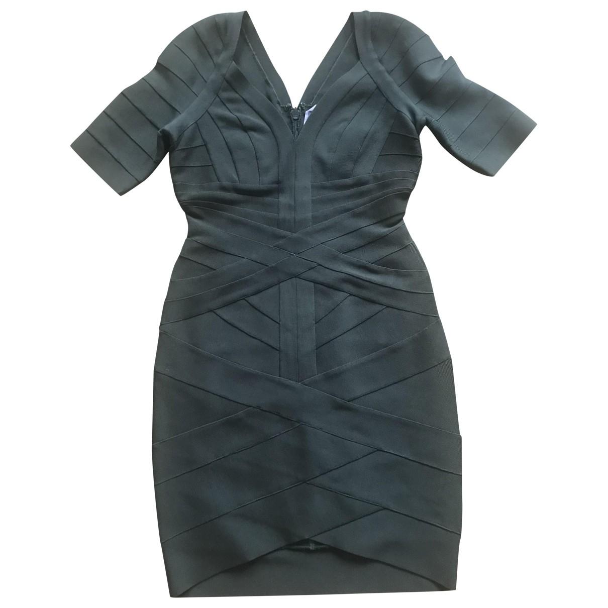 Herve Leger \N Kleid in  Khaki Synthetik