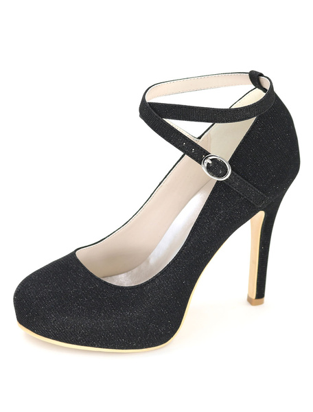 Milanoo Glitter Round Toe Wedding Shoes Platform Criss-Cross Stiletto High Heel Bridal Shoes