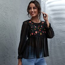 Floral Embroidery Swiss Dot Top