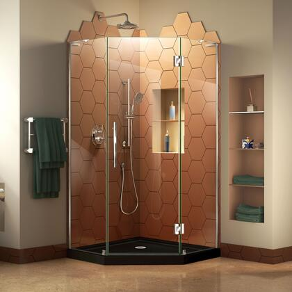 DL-6063-88-01 Prism Plus 42 X 42 Frameless Hinged Shower Enclosure In Chrome With Black Acrylic Base