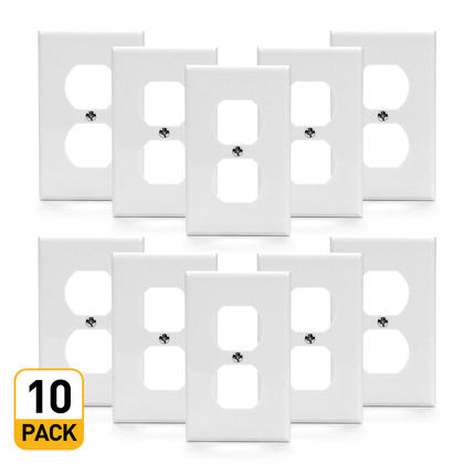 Single Gang Duplex Receptacle Wall Plate, White - PrimeCables® - 10/Pack