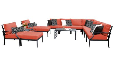 Lexington LEXINGTON-13a-TANGERINE 13-Piece Aluminum Patio Set 13a with 1 Left Arm Chair  1 Right Arm Chair  2 Club Chairs  1 Corner Chair  4 Armless