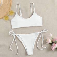 Plain Tie Side Bikini Swimsuit