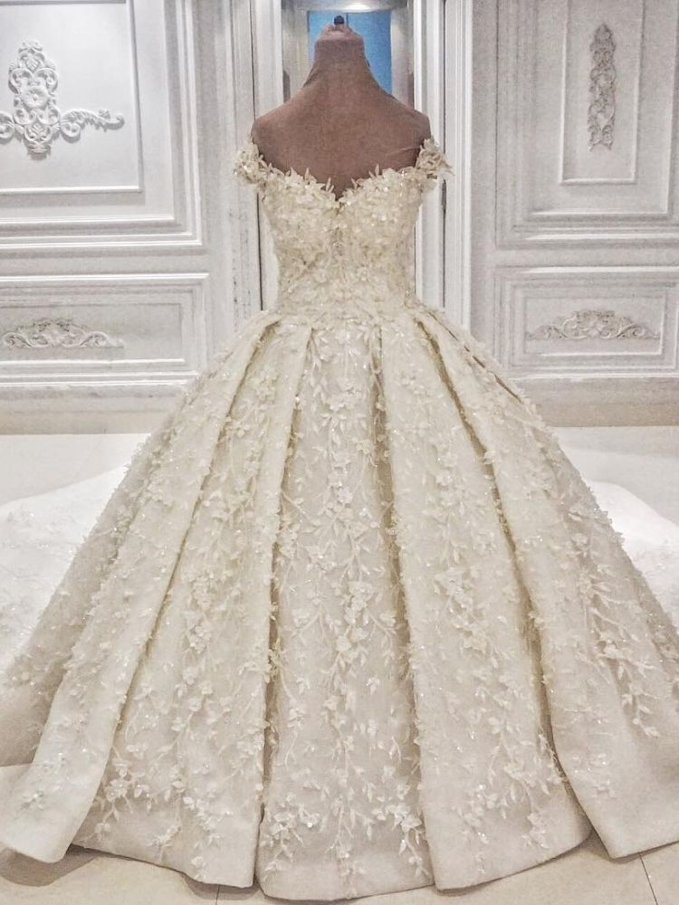 Cap sleeves Off-the-shoulder Lace 3-D Flowers Ball Gown Wedding Dress