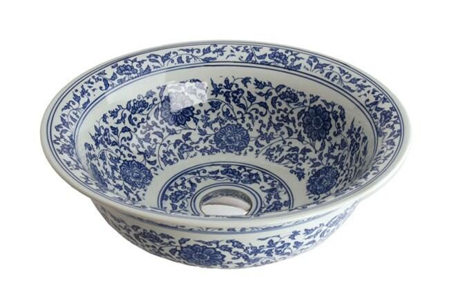 Fontaine Antiqued Blue and White Porcelain Bathroom Vessel Sink (Blue / Porcelain Vessel)