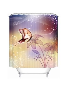 Romantic Butterfly and Flower Print Bathroom Shower Curtain